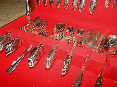 VINTAGE ROGERS IS SPRINGTIME 1959 SILVERPLATE FLATWARE 8 SETTING 56 Piece Set