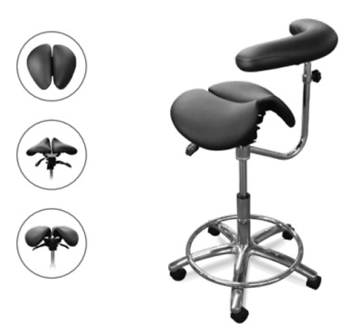 New Galaxy Model 2095-R Saddle Assistant's Stool Fixed Footrest  Ratcheting Mech