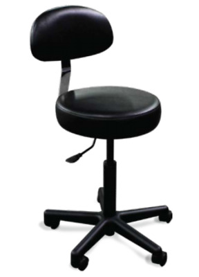 New Galaxy Model 1060-G Round Seat Doctor's Stool Comfortable Back Rest Black