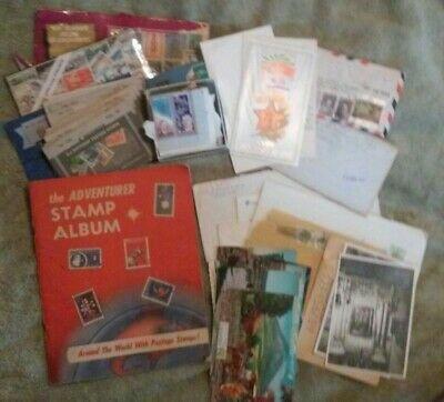 Huge VTG LOT US WORLD Stamps Collection Unsearched Books Postcards Album Estate