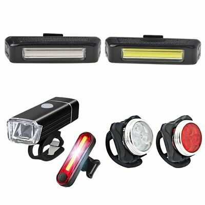 USB Rechargeable LED Mountain Bike Road Cycle Head Front Light Rear Tail Lamp PB