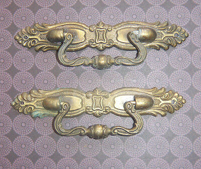 PAIR - Vintage Ornate Solid Brass Cabinet Drawer Drop PULLS HANDLES