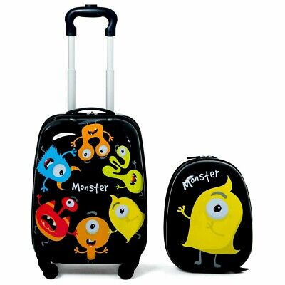"2Pcs Kids Luggage Set 12"" Backpack And 16"" Rolling Suitcase Set Travel Trolley"