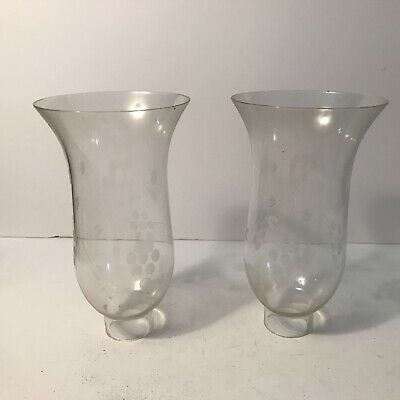 Antique matching pair clear etched glass shades for electric Art Deco table lamp