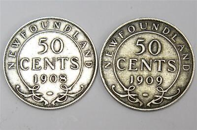 1908 and 1909 Newfoundland silver 50 cents 2-coins VF20