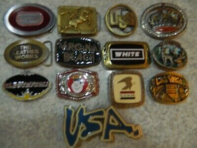 VINTAGE belt buckle LOT of 13 buckles