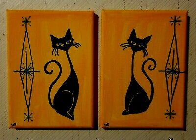 1 Pair ATOMIC MEOW Paintings signed WB In Orange For Vtg Camper or Tiny House!