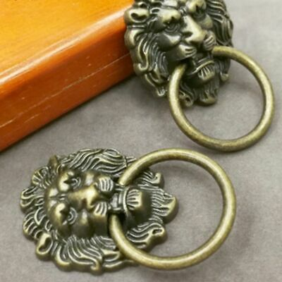 Creative Door Cabinet Furniture Antique Drawer Pull Handle Lion Head Knob Ring