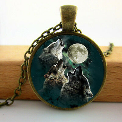 New Howling Wolves Moon Cabochon Antique Necklace Pendent Jewellery Gift Bag