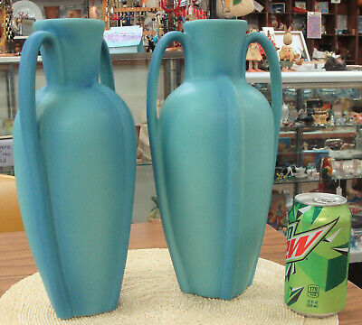 Pair (2) Large Van Briggle Vases Ming Blue Turquoise Arts Crafts Pottery 12 ""