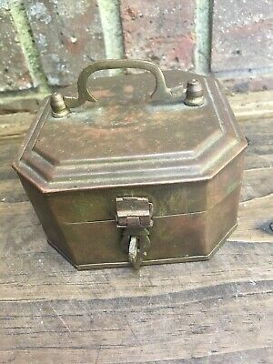 Vintage Small Chest Style Trinket/Jewelry Box Made Brass STRONG HASP WELL MADE