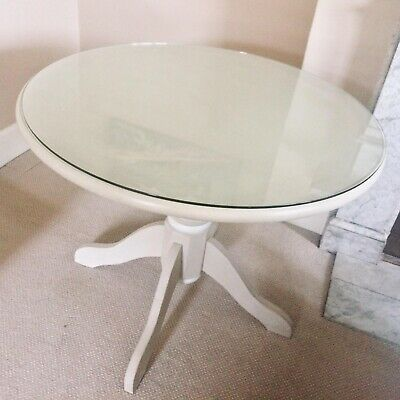 SOLID PINE ROUND PAINTED CIRCULAR PEDESTAL TABLE. 90cms Wide With Glass Tops VGC