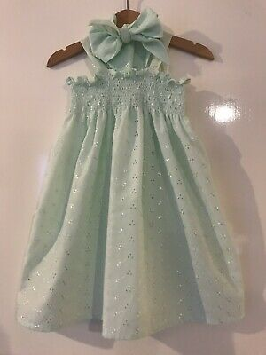 Toddler Girls Mint Broderie Anglais Elasticated Dress And Headscarf Size 1-2 Yrs
