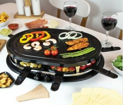 1200Watt Raclette Grill - Serves 8 People No Flames Easy Clean Non-Stick Coated