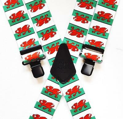 "Mens Braces Heavy Duty 1.5"" or 2"" Welsh Flag Red Dragon Wales Black Clips"