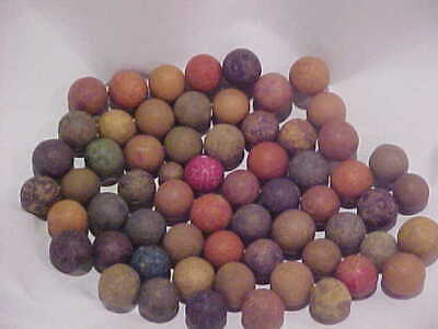 LOT of 60 Vintage/ Antique  Clay Marbles  Various  Colors!