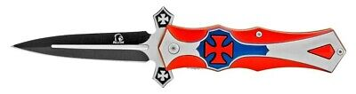 Falcon Red White and Blue Cross Quadrata Spring Assisted Folding Pocket Knife