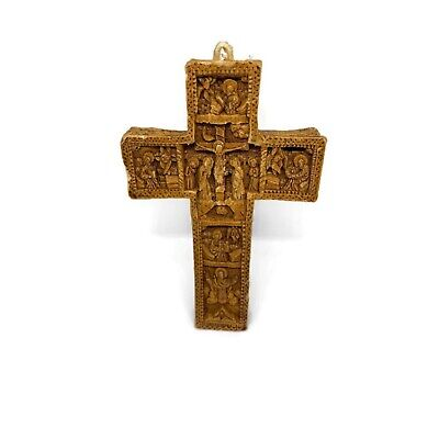 Vintage Byzantine Cross Hand Carved Wax Life Cycle Jesus Born To Resurrection