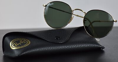 Ray Ban RB3447 001 Gold Frame Green Classic Round Lens 50MM Sunglasses