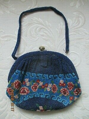 Antique Micro Bead Floral Beaded Bag With Attached Mirror