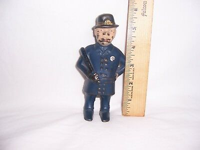 Antique Vintage OLD CAST IRON BOBBY COP BANK Traffic Police Man Officer Rare