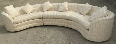 HUGE 3 Piece Henredon Mid-Century CURVED Couch Sofa Sectional * NICE