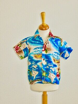 Authentic RJC Hawaiian Shirt Hawaii Island Map Hibiscus Ukulele Palms 2T