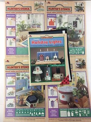 Christmas Holiday Lights Country Decorative Painter's Stencil Book + 4 Sheets
