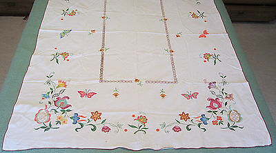 Vintage Tablecloth 66 x 53 HAND PAINTED Flowers Print Floral