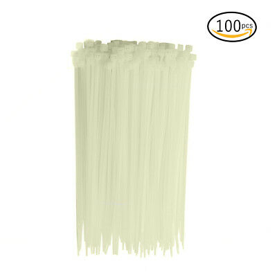 """8"""" Inch Zip Ties White (100 Pack), Nylon Cable Wire Ties, By Bolt Dropper."""