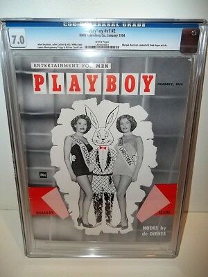 **Cgc 7.0 Fine/Vf** January 1954 Playboy Magazine V1 #2 White Pages Excellent!!