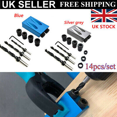 Pocket Hole Jig Kit Aluminum 6/8/10mm 15° Angle Adapter for Woodworking Guide UK
