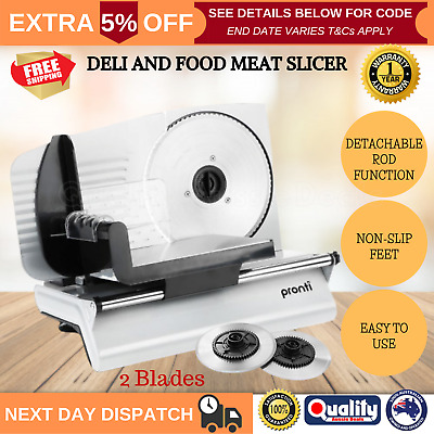 Electric Deli Meat Food Slicer 200W Bread Cheese Vegetable Processor 2 BLADES