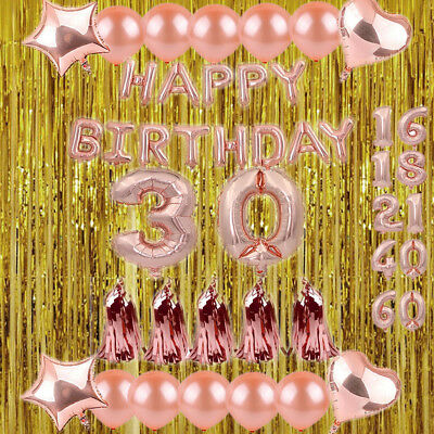 1st/18/21/30/40 Foil Latex Happy Birthday Number Balloon Party Curtain Rose Gold