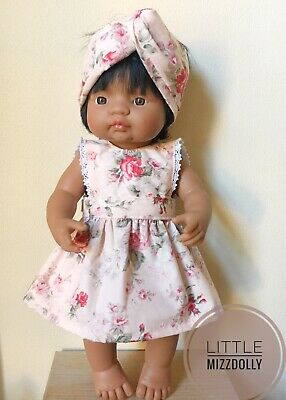 Miniland 38cm Doll Clothes Bib dress & Headband