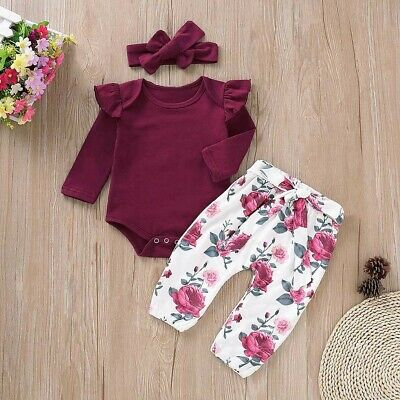 3PC Toddler Kids Baby Girls Long Sleeves Romper Tops+Pants+Headbands Set Outfits