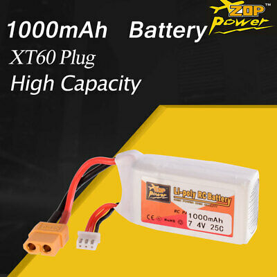 ZOP Power 7.4V 1000mAh 25C 2S Lipo Battery XT60 Plug For RC FPV Racing Drone