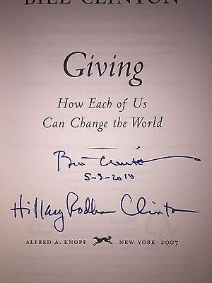 """BILL & HILLARY RODHAM CLINTON Autographed DUAL - Signed BOOK """"GIVING"""" 1st/1st"""