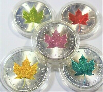 (Lot Of 5 Coins)   1 oz Canadian Maple Leaf  Colorized Coins .999 Silver (BU)
