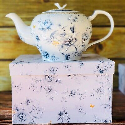 Blue Meadows Teapot 1 Litre Fine Bone China Ceramic Gift Birthday Tea Lady