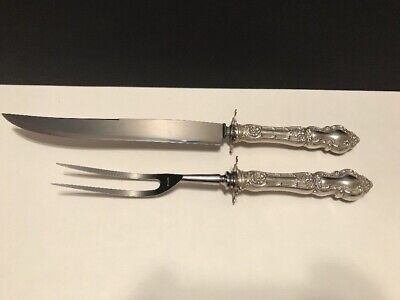 """Vintage Watson Meadow Rose Sterling Silver Carving Set w/ Guards No Mono 13 3/8"""""""