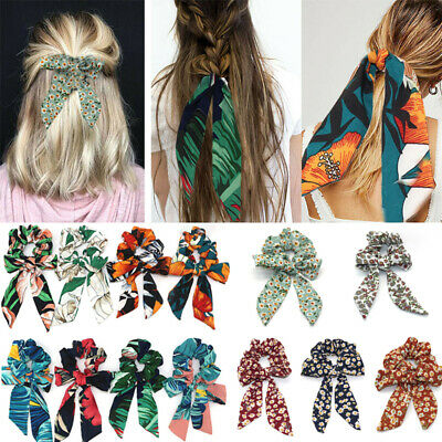 Scarf Print Elastic Tie Bow Boho Scrunchies Hair Rope Ponytail Ribbon Hair Bands