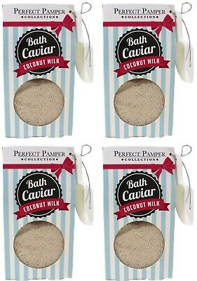 PERFECT PAMPER 4x 70g Relaxing BATH CAVIAR Soothing Salts COCONUT MILK Gift Set