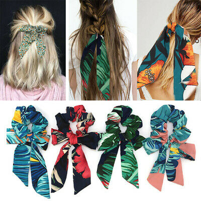 Print Scrunchies Elastic Tie Ponytail Boho Ribbon Bow Hair Bands Scarf Hair Rope