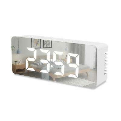 Alarm Clock Digital LED Large Display Portable Modern Battery Operated Mirror