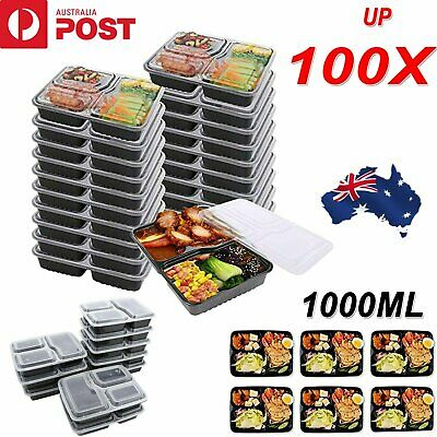 Up 100x Meal Prep Plastic Food Storage Containers Freezer Microwavable Lunch Box