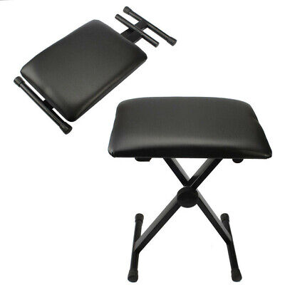 Piano Stool Keyboard Bench Black Padded Cushion Chair Adjustable Height DCUK