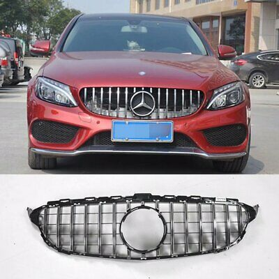 GTR Style Grill Grille Front Bumper for Mercedes Benz W205 C250 C300 C400 Chrome