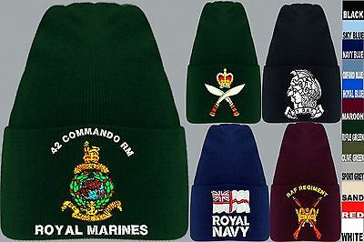 Units R To R1 Embroidered Regimental Army Raf Royal Marines Sas Beanie Wooly Hat
