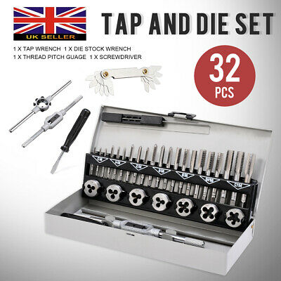 32Pcs Pro Tap and Die Set Metric Wrench Cuts M3-M12 Alloy Steel Hard Case Kit